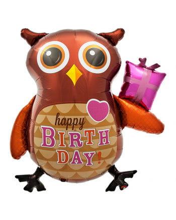 Folienballon Happy Birthday Eule