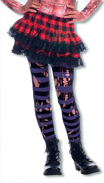 Tattered Striped Tights Black / Purple