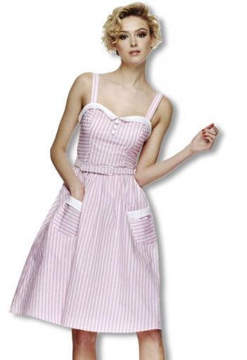 Gestreiftes Rockabilly Kleid rosa-weiß