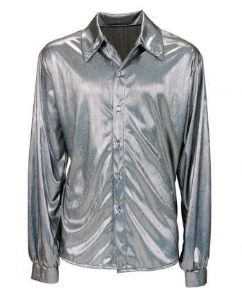 Glitzer Discohemd Silber