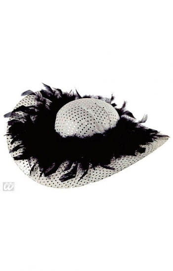 Glitter Party hat with feathers silver