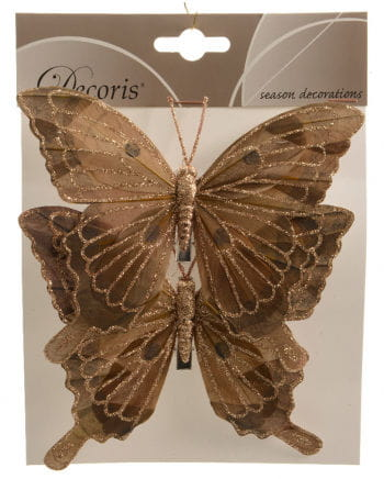 Glitter Butterflies Set of 2 14 cm brown