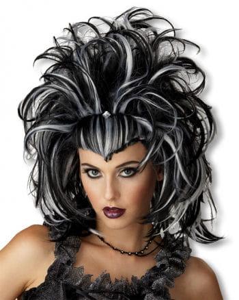 Gothic Teufelin Perücke weiß schwarz