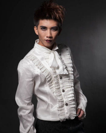 Gothic men`s shirt with ruffles white