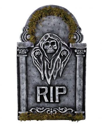 Memorial stone Grim Reaper with moss