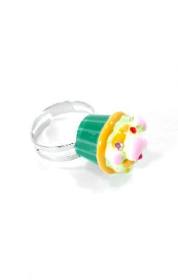 Cupcake Ring Green Yellow