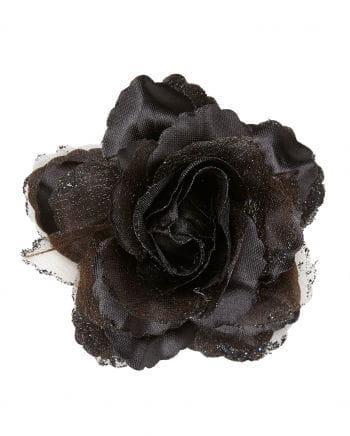 Barrette Black Glitter Rose