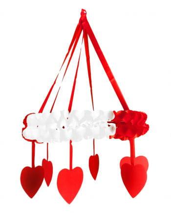 Herz Kranz-Girlande rot/weiß