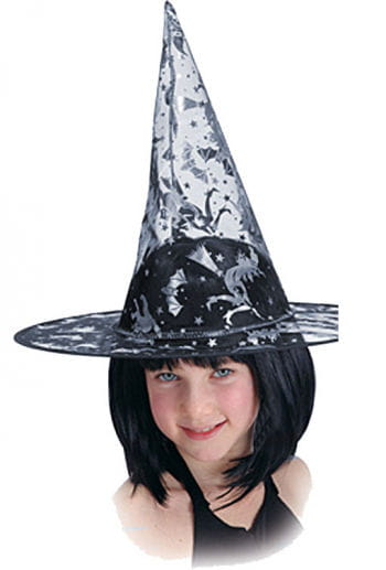 Child Witch Hat with Silver Print
