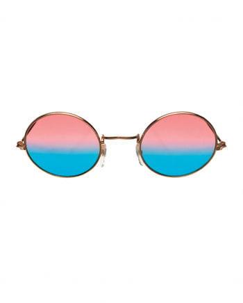 70s Hippie Brille Pink/Blau