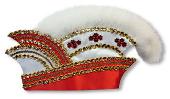 Committee hat red and white with marabou trim