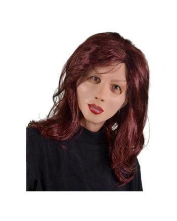 Frauenmaske aus Latex mit Langhaarperücke