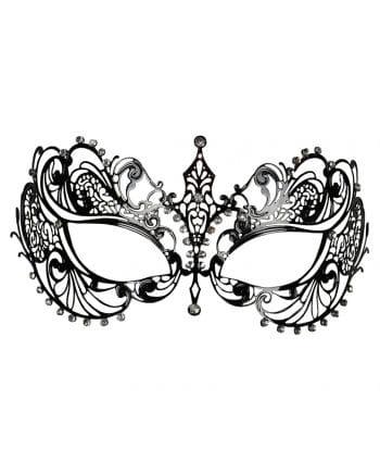 Intricate metal eye mask with black rhinestones