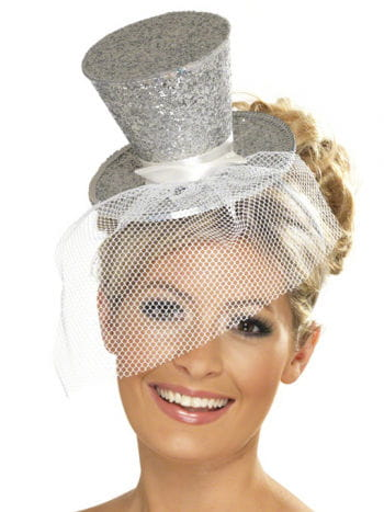 Mini Hat Silver with Tulle