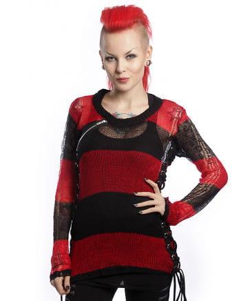 Miss Krueger Pullover schwarz-rot