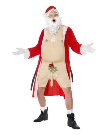 Nackter Santa Kostüm mit Mistelzweig am Penis