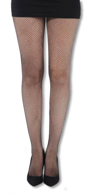 Glitter Fishnet Tights Black & Silver