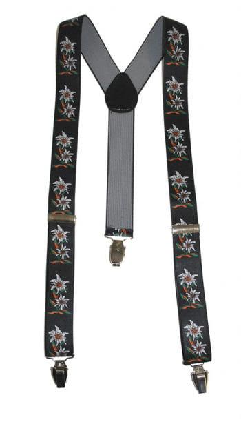 Oktoberfest suspenders edelweiss black