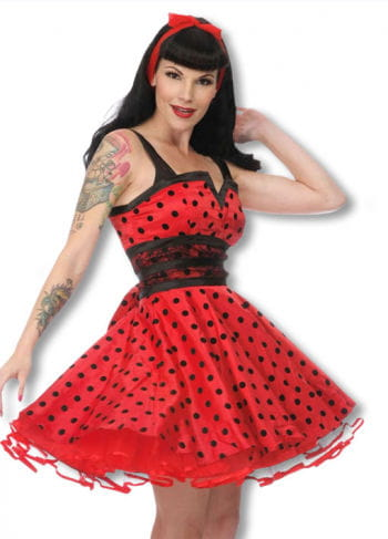 Petticoat dress with dots black-red