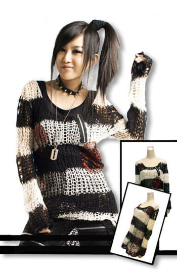 Punk knit sweater black and white One Size