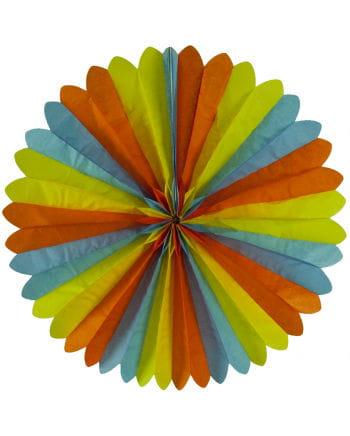 Rosettenfächer blau/gelb/orange 60cm