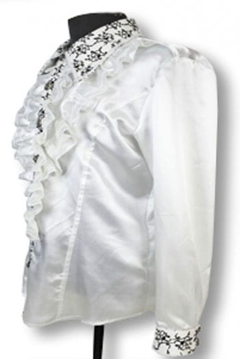 Elegant ruffled shirt White L
