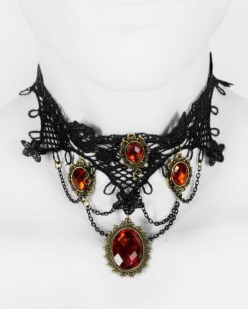 Viktorianische Halskette mit roten Schmucksteinen