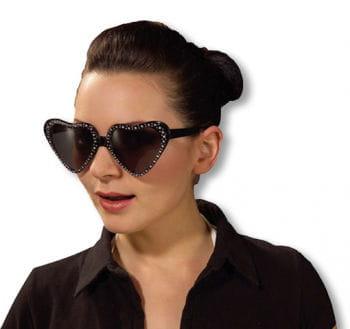 Schwarze Herz Sonnenbrille mit Glitzerrand