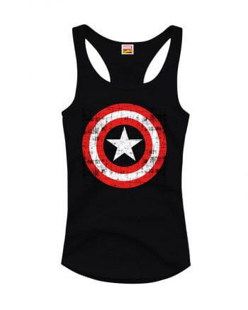 Captain America Girlie Tank Top Black