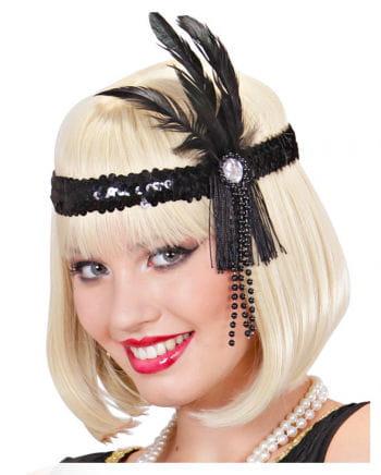 Flapper Stirnband Schwarz mit schwarzer Feder