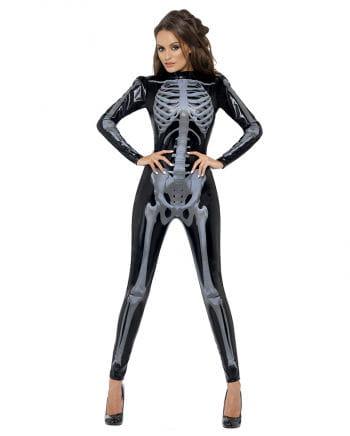Skelett Catsuit schwarz