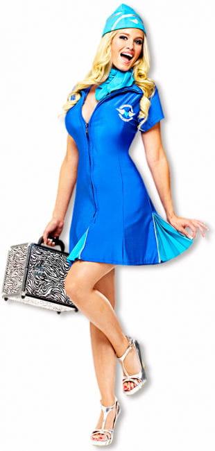 Sexy Stewardess Kostüm Blau S/M 36-38 S/M