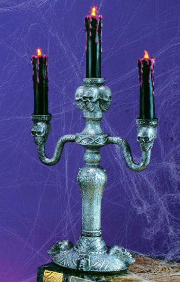 Gothic Candlestick With LED Candles Silver