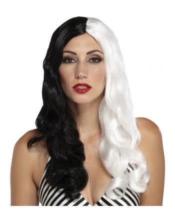 Sine stress Curly Wig Black / White