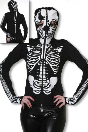 Skelett Hoodie mit Totenkopfmaske L L / 40