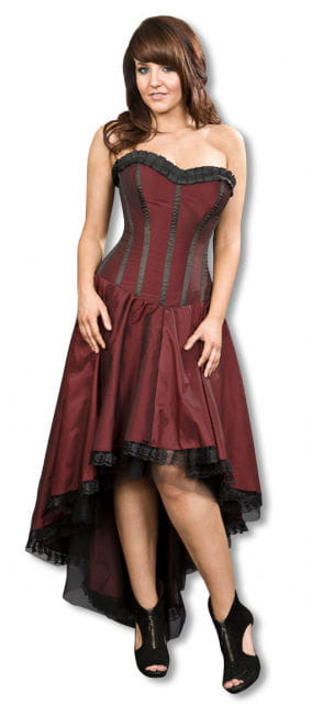 weinrotes Gothic Taftkleid S