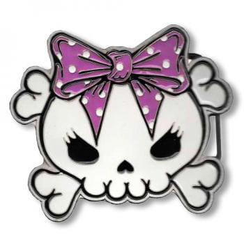 Skull belt buckle pink
