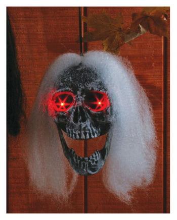 Haariger Totenkopf mit LED-Augen