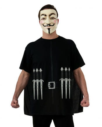 V For Vendetta T-Shirt mit Cape & Maske