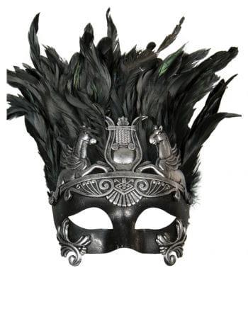 Antike Augenmaske mit Federn schwarz/silber