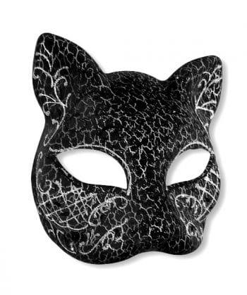 Venezianische Katzenmaske silber