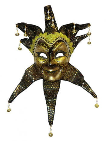 Venetian Mask Jester Black/Gold