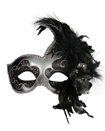 Venezianische Maske mit Federn schwarz/silber