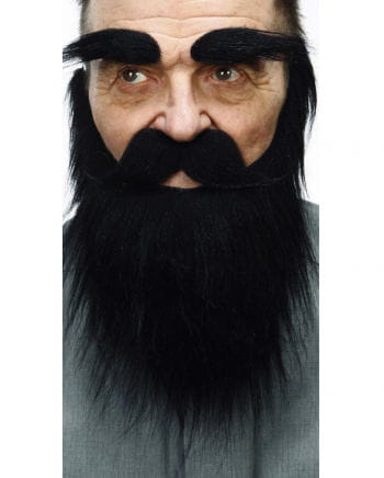 Beard with mustache and eyebrows black