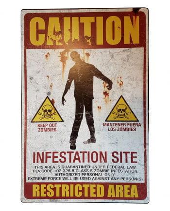 Zombie Quarantine Zone Metal Sign
