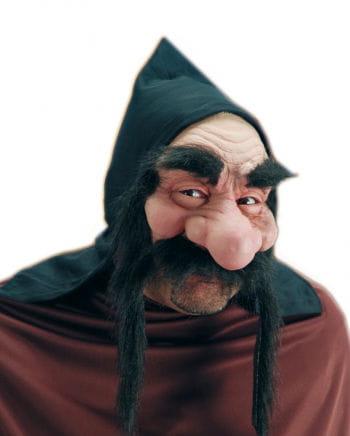Zwergen Halbmaske mit schwarzem Bart