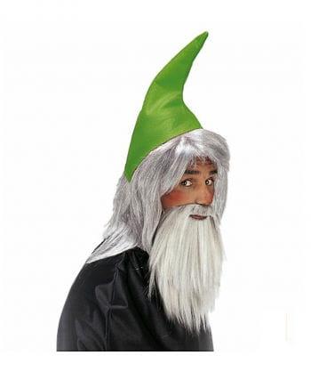 Zwergenmütze grün mit Bart