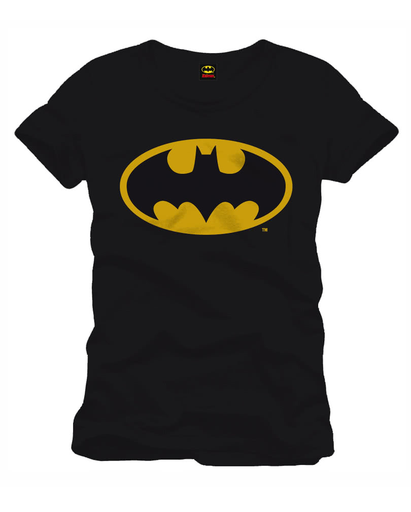 batman classic logo t shirt schwarzes superhelden t shirt horror. Black Bedroom Furniture Sets. Home Design Ideas