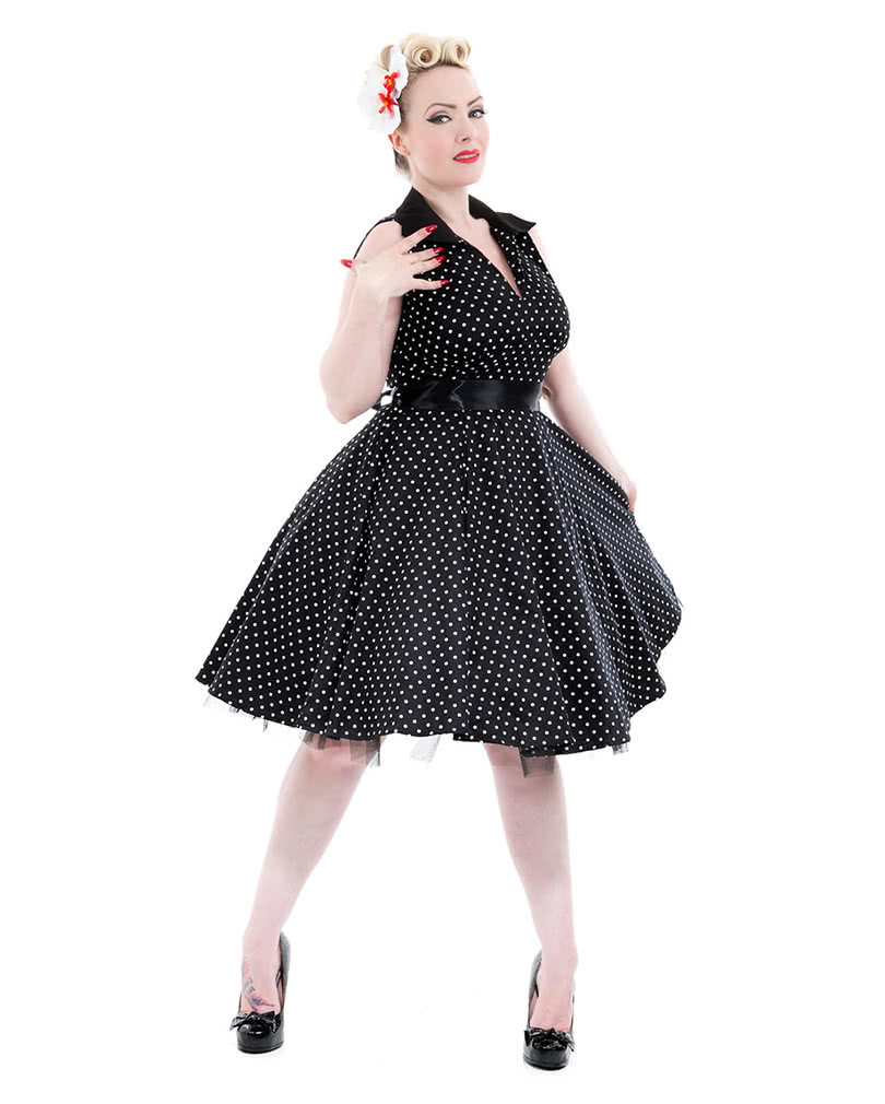 vintage kleid schwarz polka dot kleid petticoat kleid horror. Black Bedroom Furniture Sets. Home Design Ideas