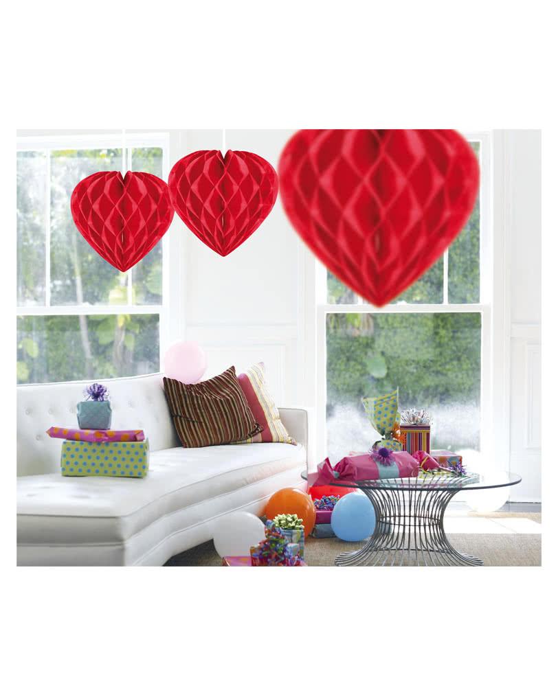 Honigwaben Herz Rot 30 Cm Hochzeitsdeko